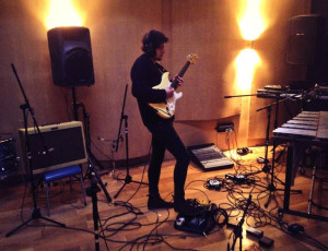 Josh recording guitar for Be Water My Friend, Eiger Studios