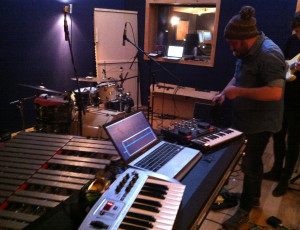 Setting up to record vibraphone for Be Water My Friend, Eiger Studios