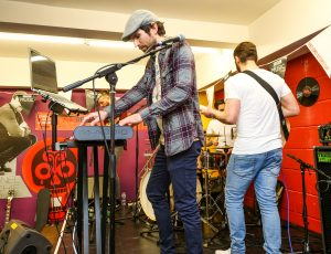 Fold live at Vinyl Tap in session for Lauren Laverne on BBC 6 Music. Photo by Paul Husband.